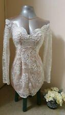 Dress Bodycon lace cream long sleeve Sz8-10