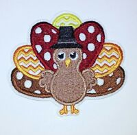 """Turkey Patch Thanksgiving Fall Autumn Embroidered Iron On Applique 3.00"""" X 3.50"""""""