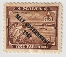 """1948 Malta - King George VI Overprinted """"SELF-GOVERNMENT - One Farthing Stamp"""