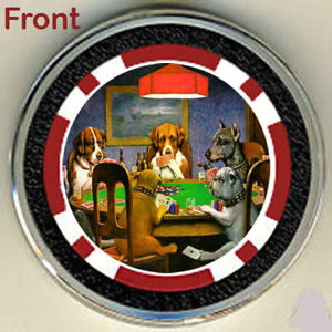 #0 DOGS PLAYING POKER CHIP CARD GUARD COVER MARKER WSOP