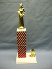 Queen pageant trophy candy stripe red square column with star trim