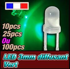 218D# LED 3mm vert diffusant ronde - dispo 10, 25 ou 100pcs - green LED