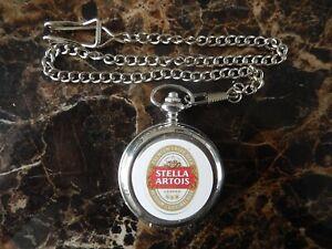 STELLA ARTOIS CHROME POCKET WATCH WITH CHAIN (NEW) (2)