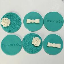 Edible Tiffany Cup Cake Toppers,Cake Decorating Tiffany Toppers x 6