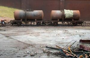 OO gauge abandoned Tankers, heavily rusted and weathered