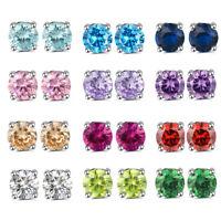 925 Sterling Silver Round Cubic Zirconia Clear CZ Stud Earrings Women Jewelry