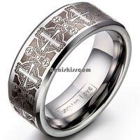 8mm Men's Tungsten Carbide Ring Comfort Fit Laser Celtic Cross Wedding Band