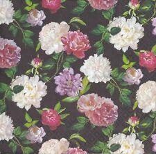 N884# 3 x Single Paper Napkins For Decoupage Pink White Rose Pattern On Black
