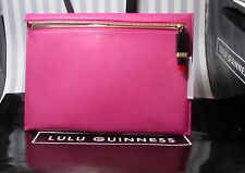 Lulu Guinness Smooth Leather Magenta Naomi Clutch Bag Lipstick Zip Pull RRP £225