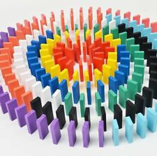 100pcs Wooden Bright Coloured Tumbling Dominoes Games Kids Play Toy Kit Tool New