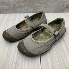 Keen Womens Summer Buckle Mary Jane Shoes Flats Leather Canvas Clay Size 5
