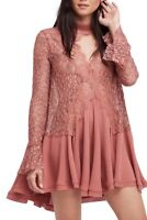 NWT FREE PEOPLE New Tell Tale Lace Mini Dress in Dusty Mauve $128 - XS
