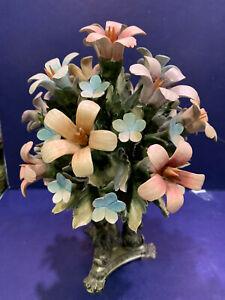 "12"" Pewter-pedestal w/ Fish Capodimonte Porcelain Flower Figurine"