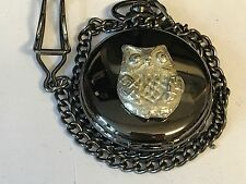 Owl TG116 Pewter on a Black Pocket Watch Quartz fob