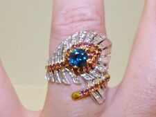 GENUINE 1.36tcw! London Blue Topaz & Rhodolite Feather Wrap Ring S/Silver 925.