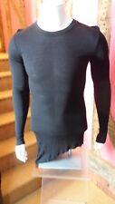 Medium Black Long Sleeve Ribbed AsymetricT Shirt in Silk blend by Nicolas & Mark