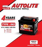 AUTOLITE 063 CAR BATTERY 45AH 12V 420 CCA SMF 4 YEARS WARRANTY