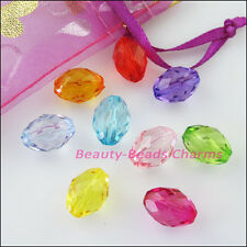20Pcs Mixed Plastic Acrylic Faceted Oval Ellipse Spacer Beads Charms 8.5x13mm