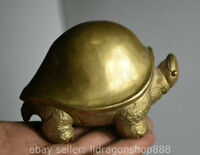 12CM Vieux Chine Cuivre Feng shui tortue tortue Animal Statue Sculpture