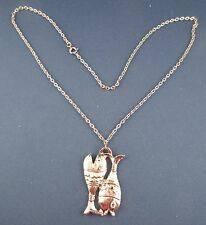 "Silvertone Italy Double Fish Pendant 24"" Long Necklace"