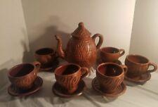 Vintage wood Clay Elephant  Teapot Cups saucers 14 pc. Tea Set Rare
