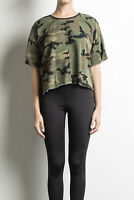 Daniel Patrick Women's Oversized Cropped Camo Tee Large L Retail $70