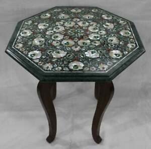 """18"""" Green Marble side end Table Top semi precious stone Inlay With Wooden Stand"""