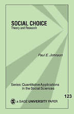 Social Choice : Theory and Research (Quantitative Applications in the-ExLibrary