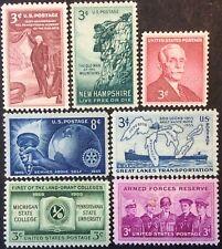 1955 Commemorative singles, Scott #1064-69, 1072, MNG, VF