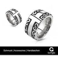 Herren Ring Edelstahl Celtic Tribal Biker Kreuz Massiv
