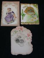 "3 Antique TRADE CARD Type CARDS, each circa 1890s, each approx. 4.5"" Tall"