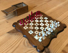 """Antique Miniature Staunton Chess Set, Board & Box, K 3.7cm, Board 6"""" Sq"""
