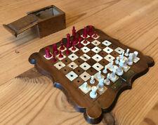 "Stunning Antique Miniature Staunton Chess Set, Board & Box, K 3.7cm, Board 6"" Sq"