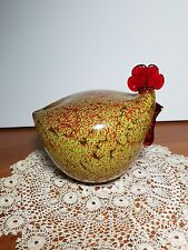 Hand Blown Murano Glass Chicken / Rooster Figurine Or Paperweight