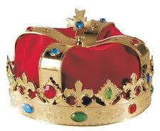 Goldene Königskrone mit Samt für Erwachsene NEU - Karneval Fasching Hut Mütze Ko