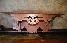 1841 Antique VICTORIAN Eastlake Spoon Carved Wall Clock Shelf   Display Cupboard