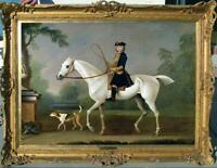 "Old Master-Art Antique Oil Painting Portrait aga horse dog on canvas 30""x40"""