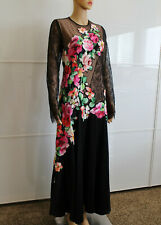 Blumarine RTW Embellished Multi Colored Floral Black Lace Dress