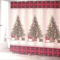 Avanti Linens CHRISTMAS TREE Country Primitive Plaid Shiplap Shower Curtain New