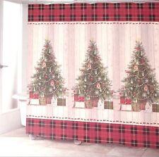 Avanti Linens CHRISTMAS TREE Country Primitive Plaid Shiplap Shower Curtain New