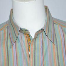 ROBERT GRAHAM Classic Fit Green Stripe Long Sleeve Cotton Casual Shirt Sz XL