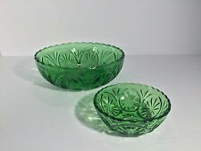 1960's Emerald Green Chip and Dip bowls-Anchor Hocking Star and Cameo Pattern