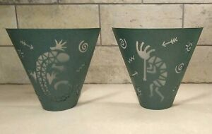 Set of 2 Southwestern Style Candle Wall Sconces & Glass Votive Cups PartyLite