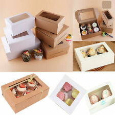 2/4/6-Hole Paper Windowed Cupcake Box Muffin Case Removable Tray(3 Inch Deep)