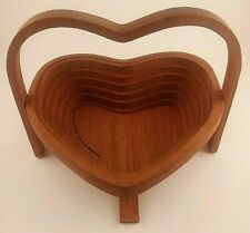 Org. John Keim 1994 Ohio Amish Wooden Heart Collapsible Basket Easter wood bowl