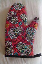 """Handmade Oven Grill Mitt - Red Folk Art Skull Motif - 12"""", 100% Cotton, Abstract"""