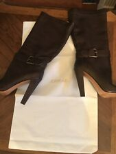 Joan & David Women's High Heel Brown Strap Boots 8.5 New with White Storage Bag