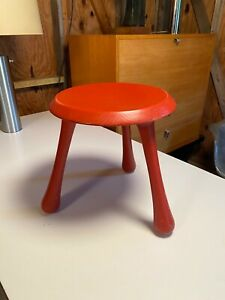 Red Lacquer Birch Stool Designed By Ingvar Kamprad, Habitat, Wegner / Perriand