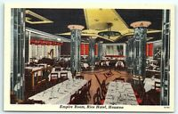 VTG Postcard Houston TX Texas Rice Hotel Linen Empire Room Bar Restaurant B4
