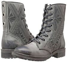 Coolway CORS Women's Size 6M Grey Embroidered Leather Grommet Combat Boots New